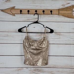 Lush | Sequin Sleeveless Corset Bustier
